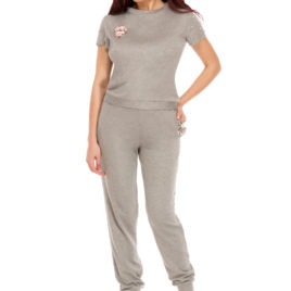 Glamy comfort top and long pant silver