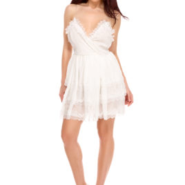 Glamy lace short dress white
