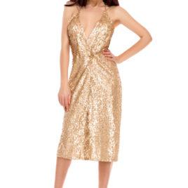 Glam shine bright short dress gold