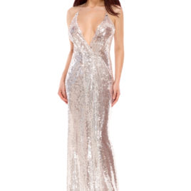 Glam shine bright long dress silver