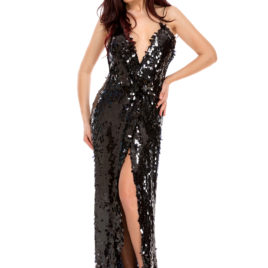 Glam shine bright long dress black
