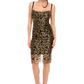 Glam chantilly lace short dress black