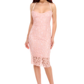 Glam chantilly lace short dress rose pastel