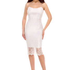 Glam chantilly lace short dress white