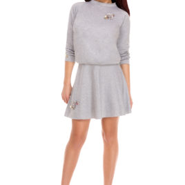 Glamy comfort top and skirt silver