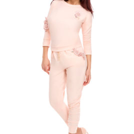 Glamy comfort top and long pant rose